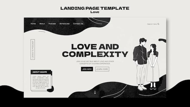 Zwart-wit liefde websjabloon