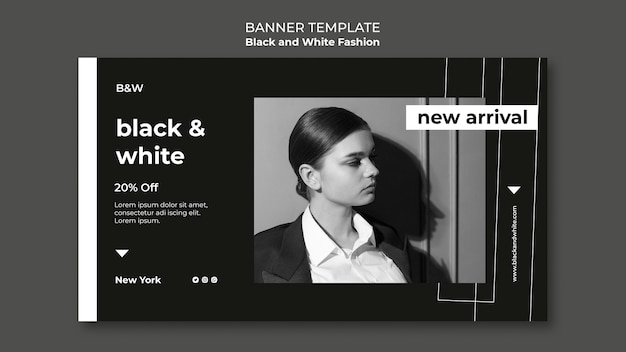 Zwart-wit mode horizontale banner