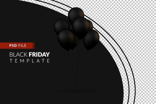 Zwarte ballonnen voor evenement en black friday-verkoopdag