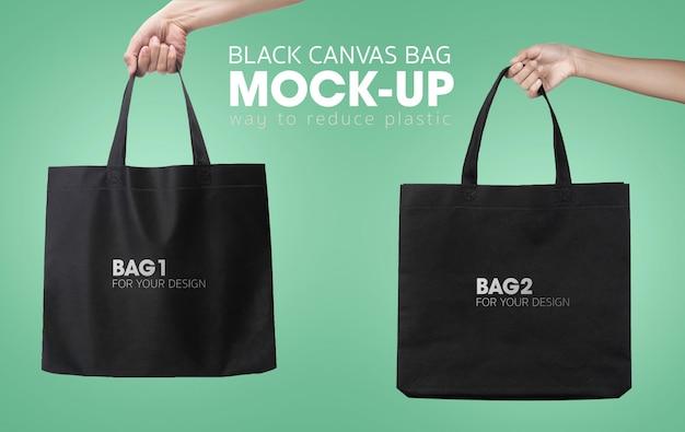 Zwarte boodschappentassen mockup