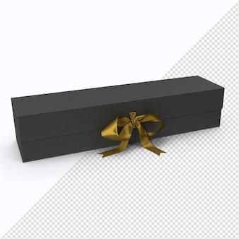 Zwarte doos met gouden lint in 3d-rendering geïsoleerd