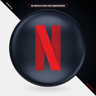 Zwarte ellips met 3d-logo van netflix