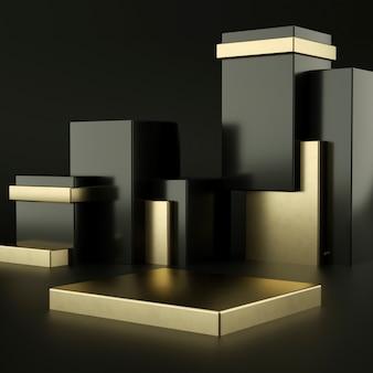Zwarte en gouden podia voor productpresentatie