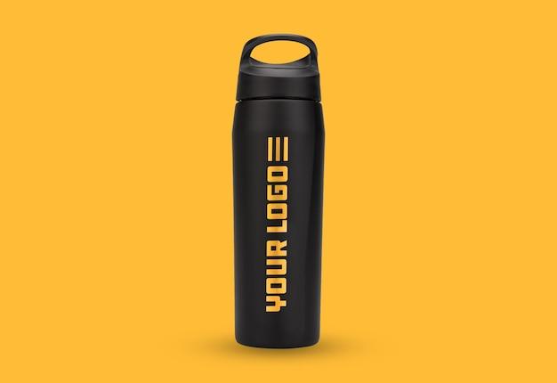 Zwarte fles logo mockup geïsoleerd