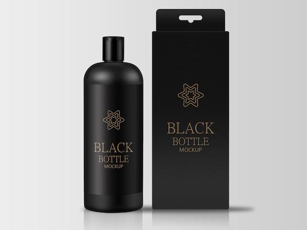 Zwarte fles met verpakkingsdoosmodel