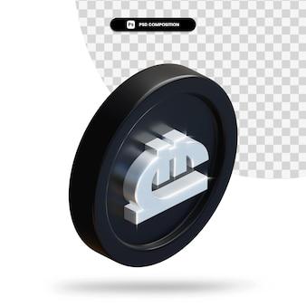 Zwarte georgische lari munt 3d-rendering geïsoleerd