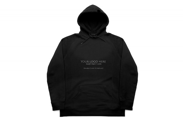 Zwarte hoodie isoleert mockup, vooraanzicht