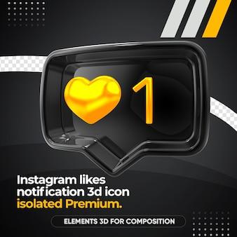 Zwarte instagram houdt van geïsoleerd meldingspictogram