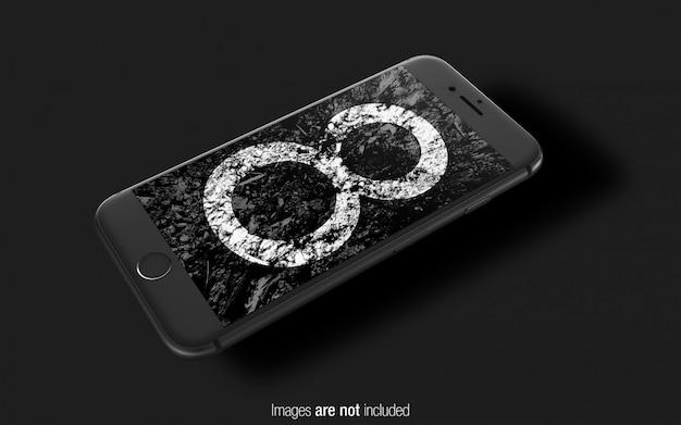 Zwarte iphone 8 psd mockup perspectief mockup