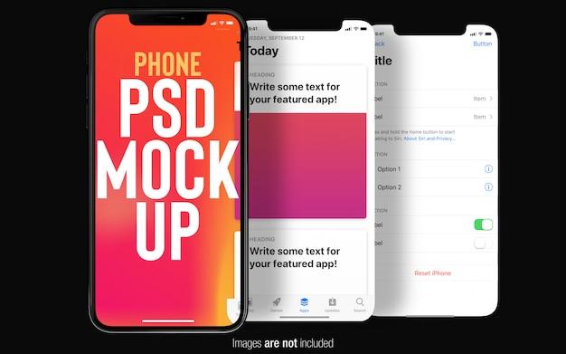 Zwarte iphone x met ui-schermen mockup bovenaanzicht