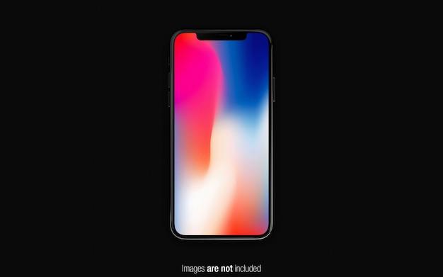 Zwarte iphone x mockup bovenaanzicht