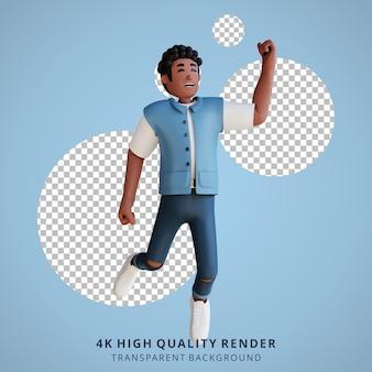 Zwarte jonge mensen gelukkig springen 3d karakter illustratie