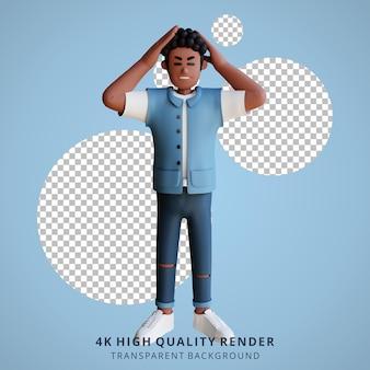 Zwarte jongeren duizelig 3d karakter illustratie