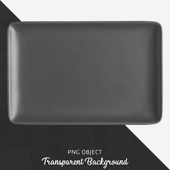 Zwarte keramische rechthoekplaat op transparante achtergrond
