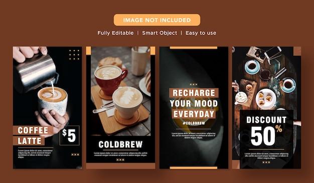 Zwarte koffie latte speciale korting banner sociale media promo ontwerp instagram post sjabloon