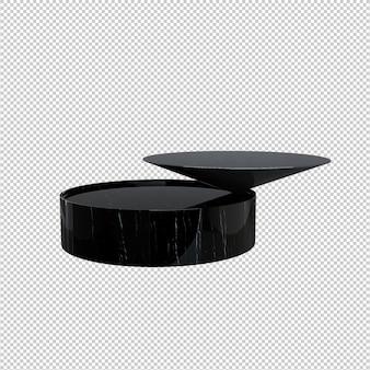 Zwarte koffietafel geïsoleerd op witte achtergrond