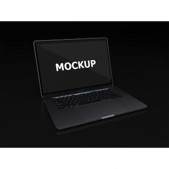 Zwarte laptop mockup diagonaal bekijken