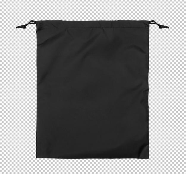 Zwarte lege gymsack mockup sjabloon op transparante achtergrond.