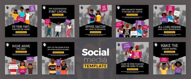 Zwarte levens zijn belangrijk op social media-berichten