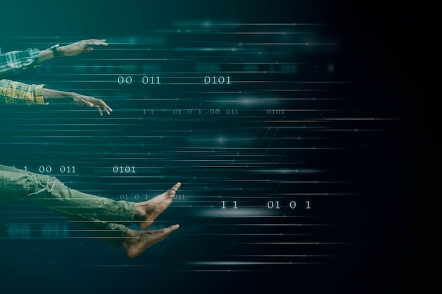 Zwarte mensen met hun voeten in de lucht op een technische achtergrond