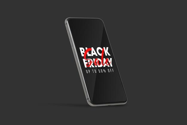 Zwarte mobiele smartphone met mockup voor zwarte vrijdagcampagne