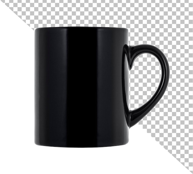 Zwarte mok voor koffie of thee geïsoleerd