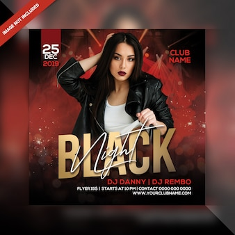 Zwarte nacht feest flyer