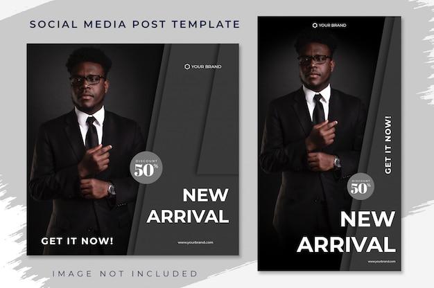 Zwarte nieuwe aankomst mode verkoop verhaal feed en sociale media post sjabloon