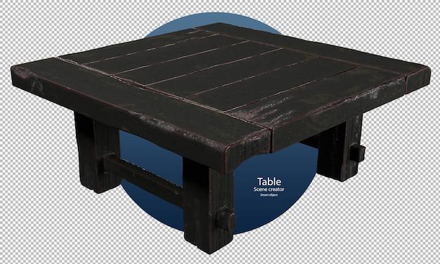 Zwarte oude houten tafel isometrisch