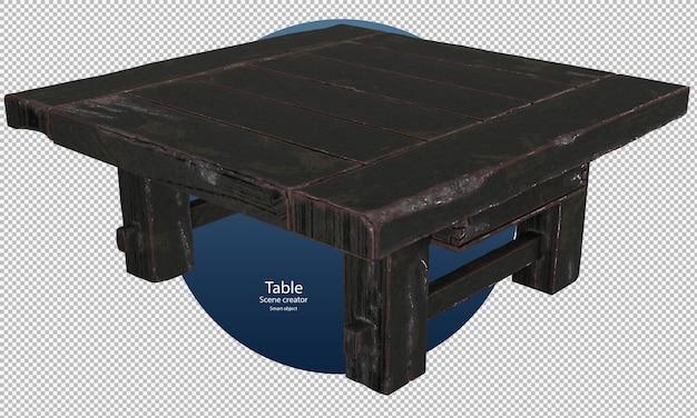 Zwarte oude houten tafel