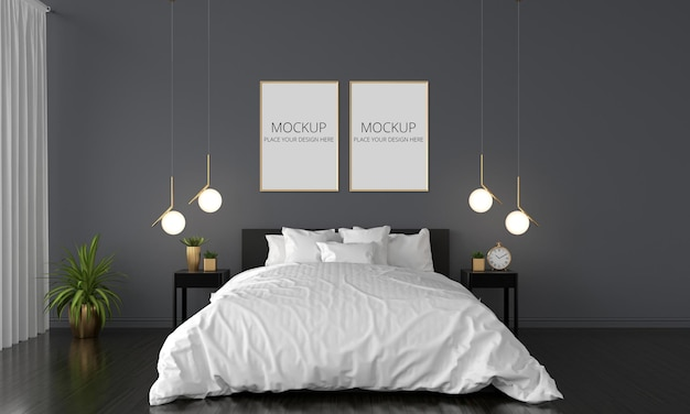 Zwarte slaapkamer met frames mockup