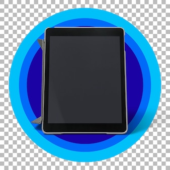 Zwarte tablet over transparante achtergrond