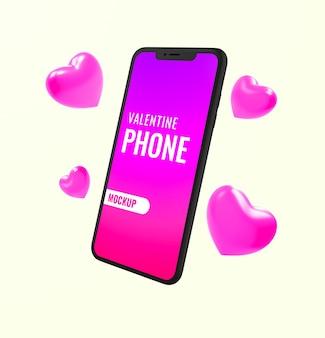Zwarte telefoon met hart valentijn mockup