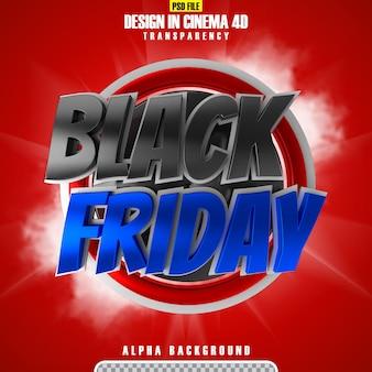 Zwarte vrijdag 3d-rendering banner