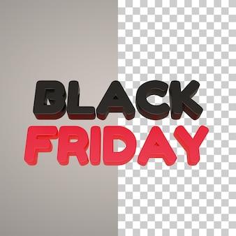 Zwarte vrijdag 3d schrijven in rood en zwart