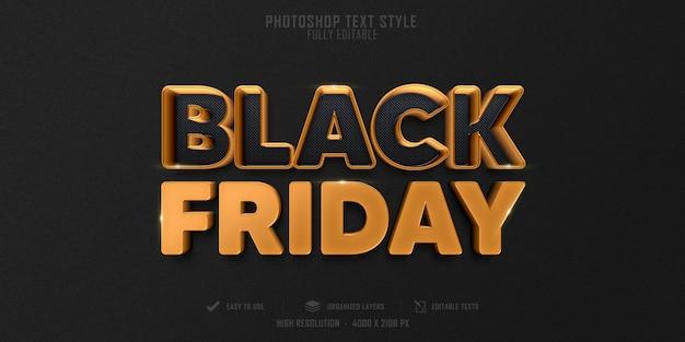 Zwarte vrijdag 3d tekststijleffect premium psd