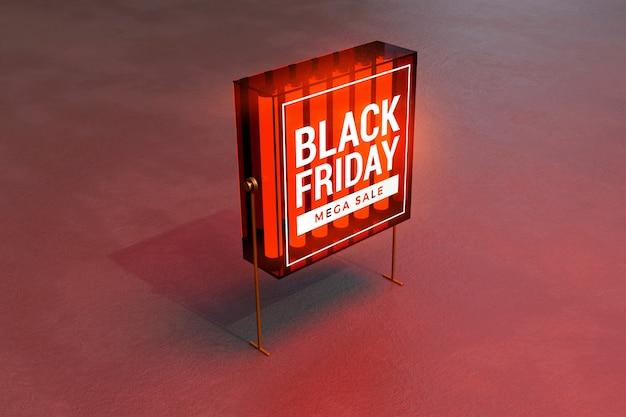 Zwarte vrijdag concept lichtbak mockup