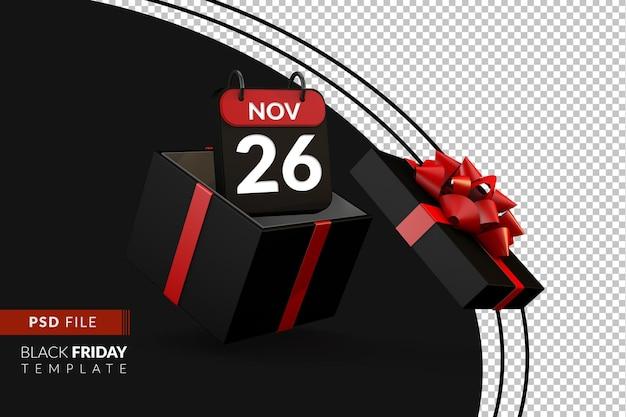 Zwarte vrijdag dag een winkelconcept met geschenkdoos en kalender zwevend