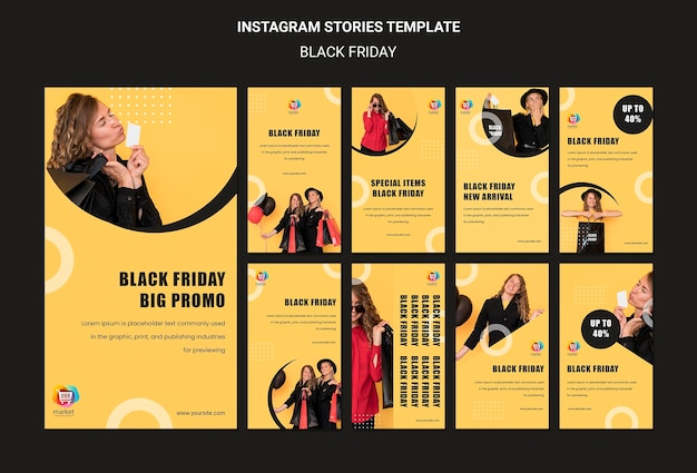 Zwarte vrijdag instagram verhalen sjabloon