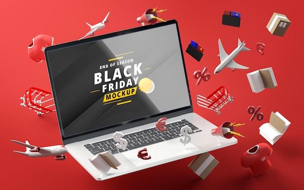 Zwarte vrijdag kortingsartikelen mock-up rode achtergrond
