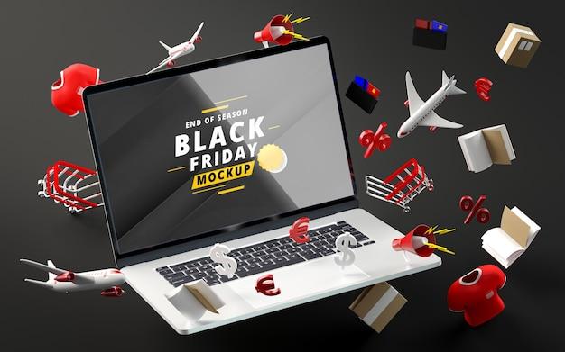 Zwarte vrijdag kortingsartikelen mock-up zwarte achtergrond