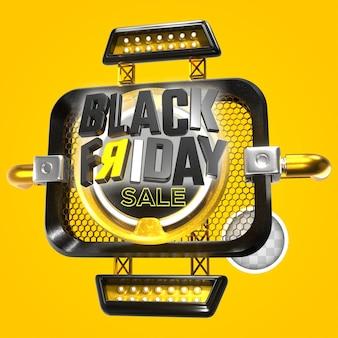 Zwarte vrijdag met aantrekkelijke gele achtergrond. 3d-rendering