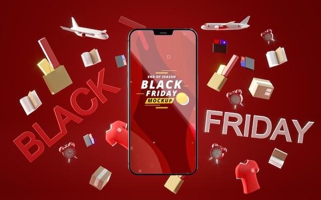 Zwarte vrijdag mobiel in verkoop mock-up rode achtergrond