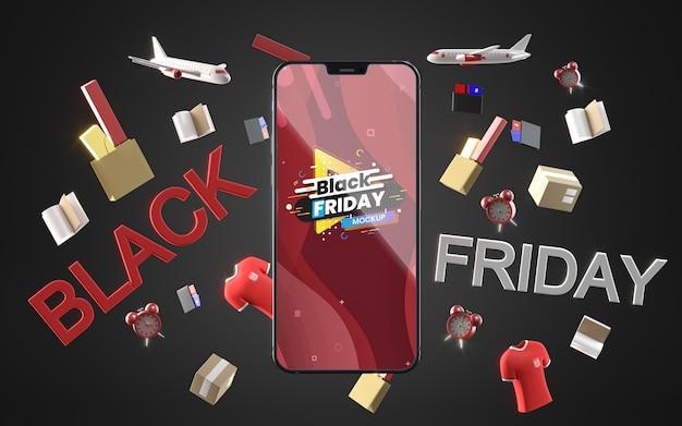 Zwarte vrijdag mobiel in verkoop mock-up zwarte achtergrond