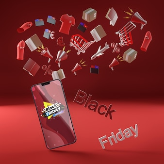 Zwarte vrijdag mobiele telefoon korting rode achtergrond