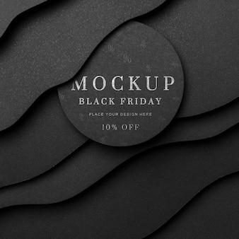 Zwarte vrijdag mock-up bochtige achtergrond