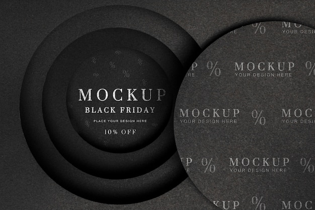 Zwarte vrijdag mock-up cirkelvormige lagen