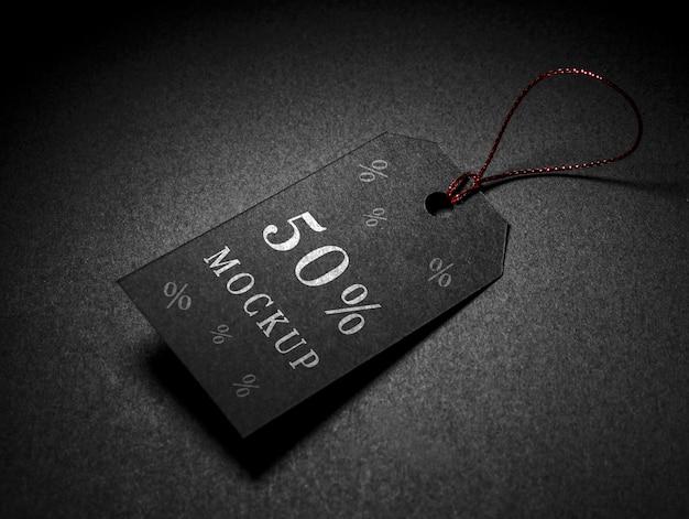 Zwarte vrijdag mock-up korting prijskaartje