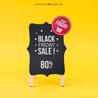 Zwarte vrijdag mockup met bord