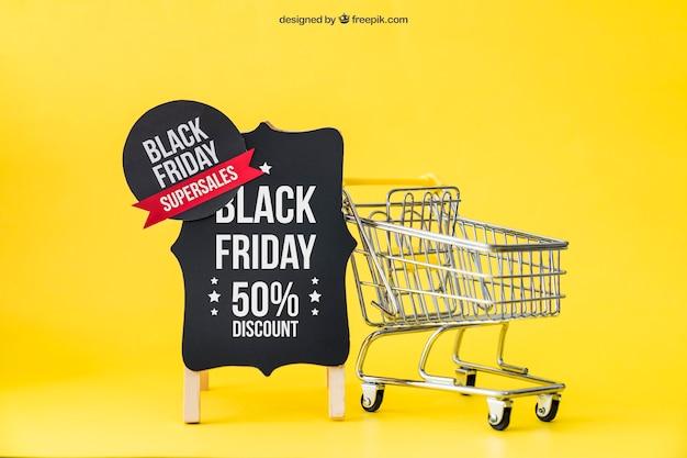 Zwarte vrijdag mockup met label en winkelwagentje